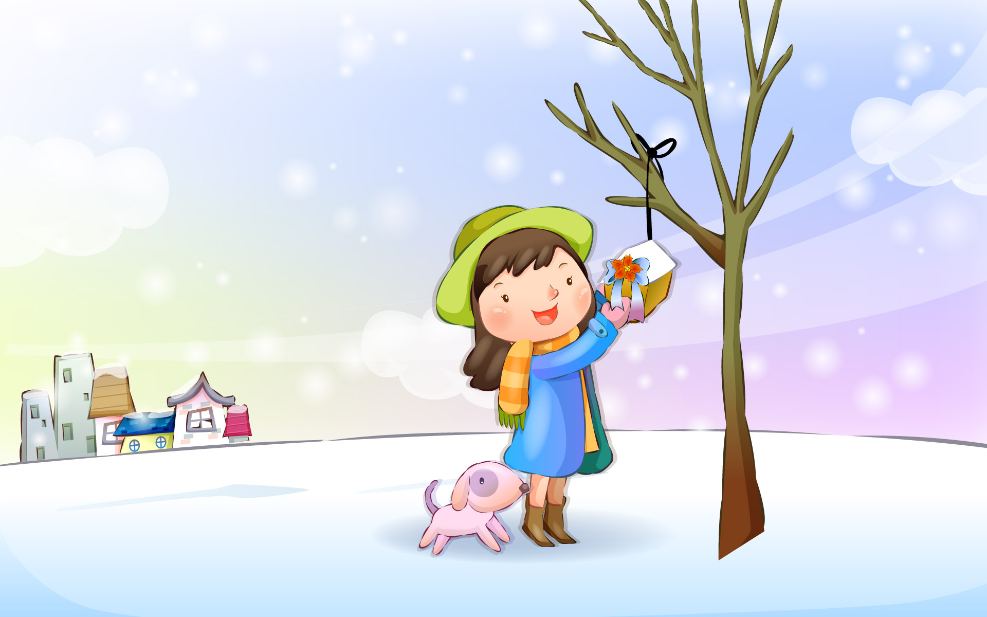 Happy childhood Christmas illustration articles 13637