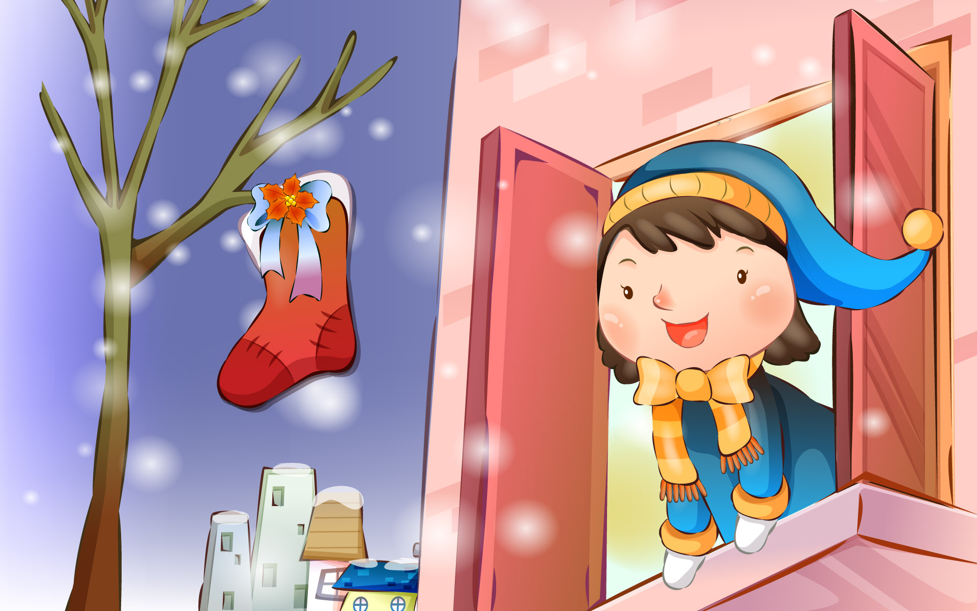 Happy childhood Christmas illustration articles 13714