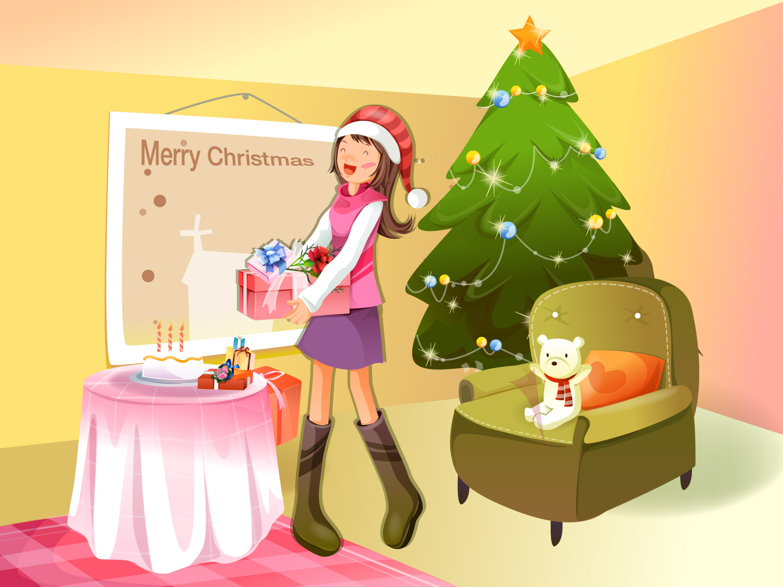 Christmas illustration wallpaper winter articles 15795