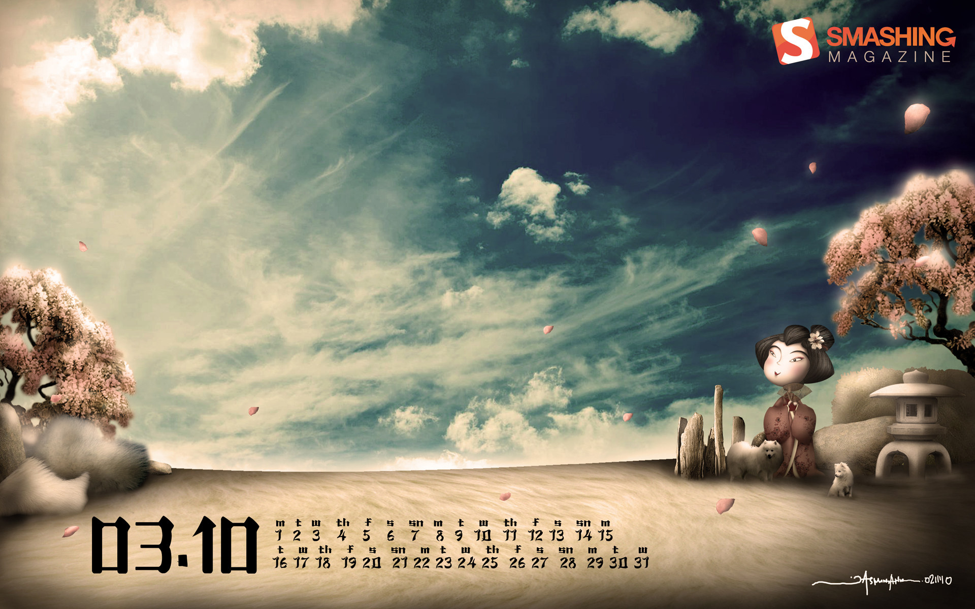 Calendar for March Widescreen 1544
