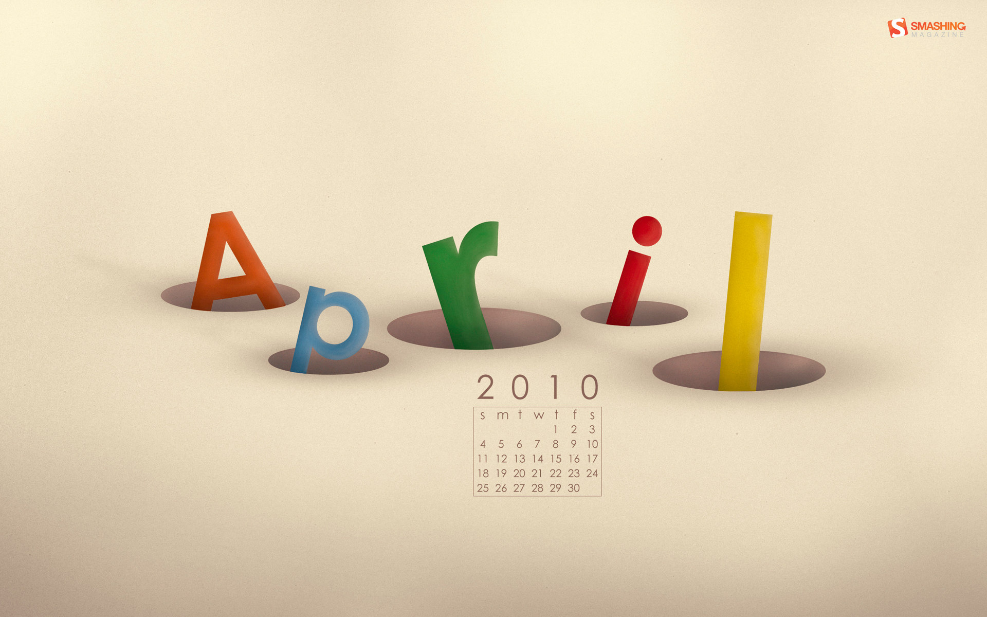 Calendar Wallpaper for April 4989