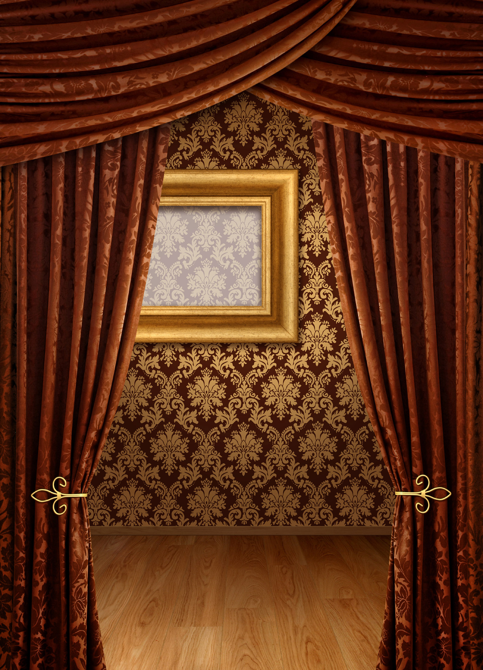 Brown curtain and wall background 27566