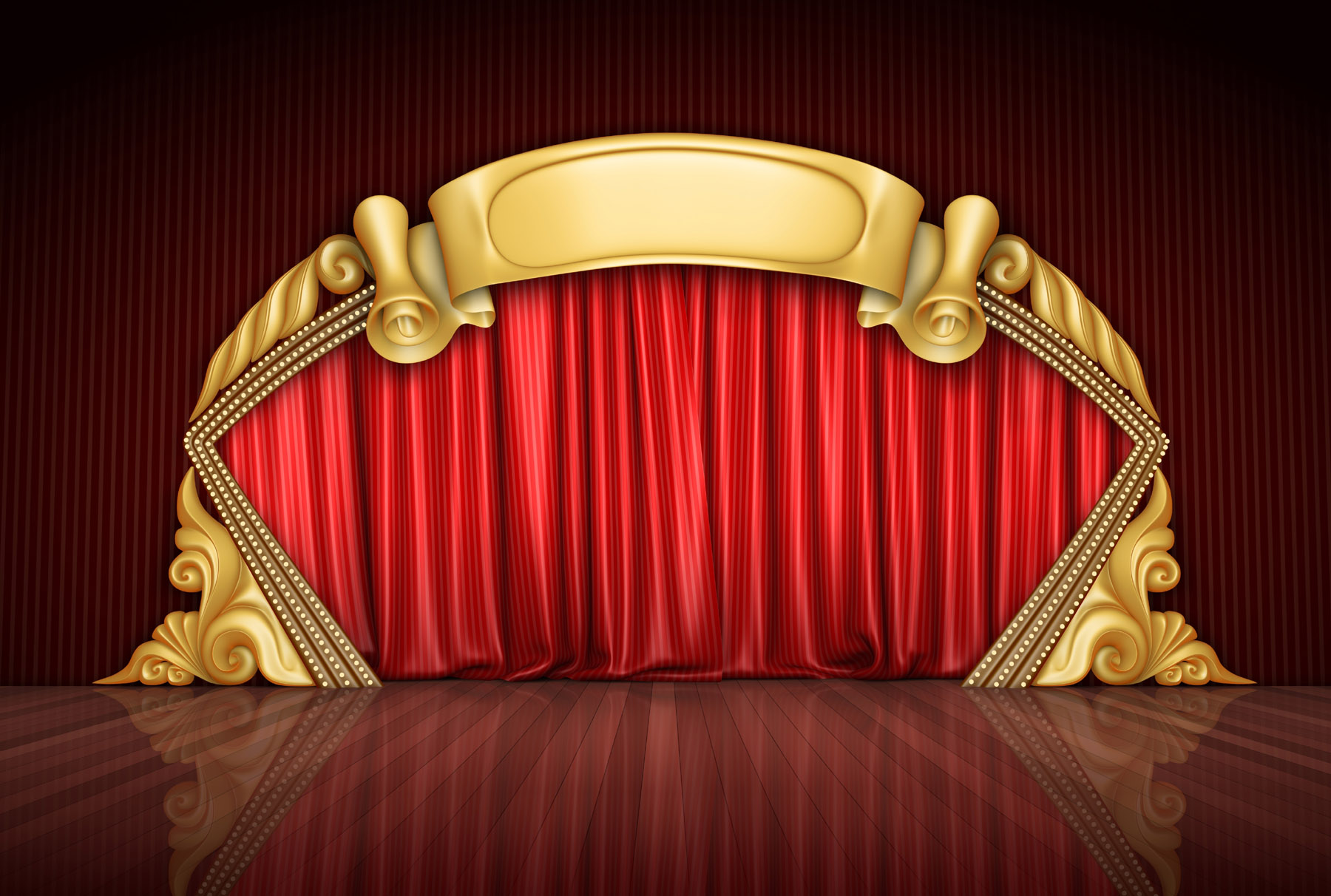 Red curtain and stage material 27572