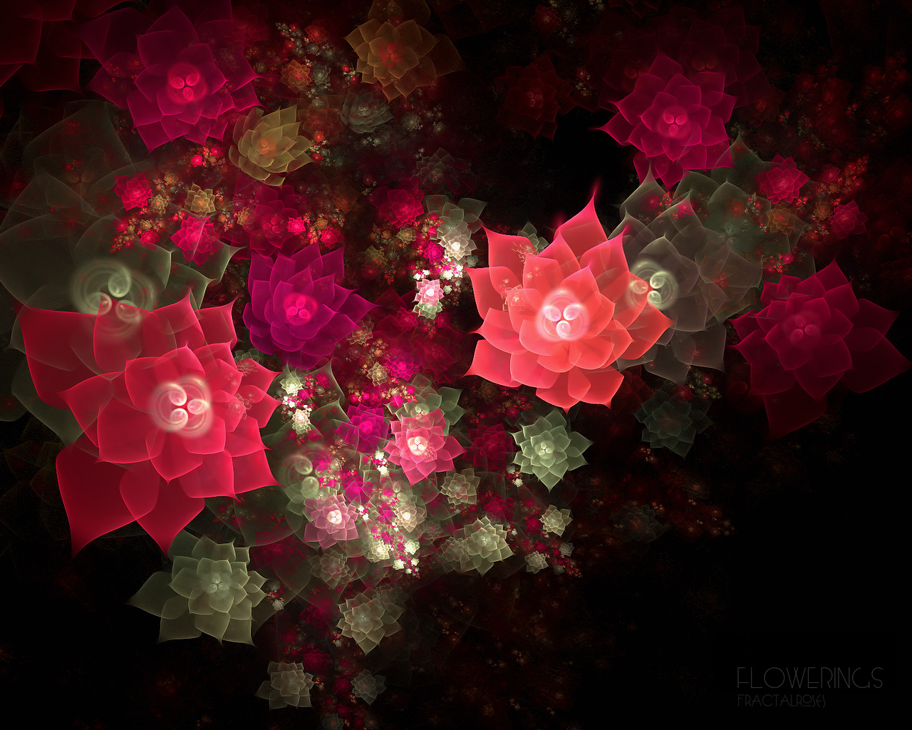 D fantasy abstract flowers 3402