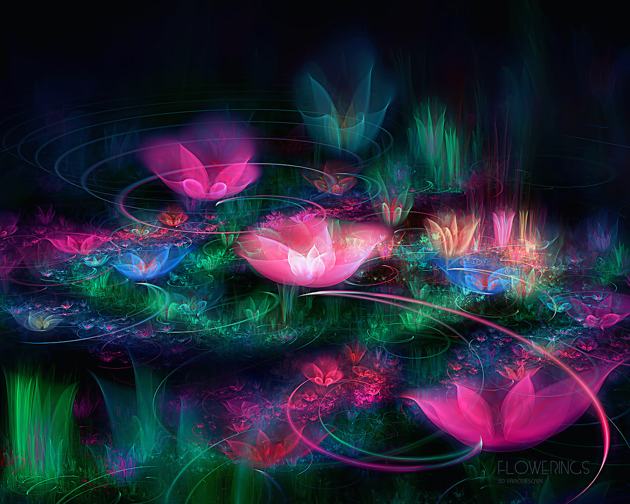 D fantasy abstract flowers 3554
