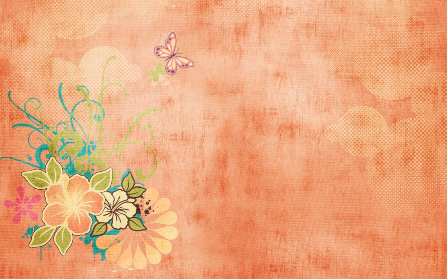 Orange butterfly pattern wallpaper 19728