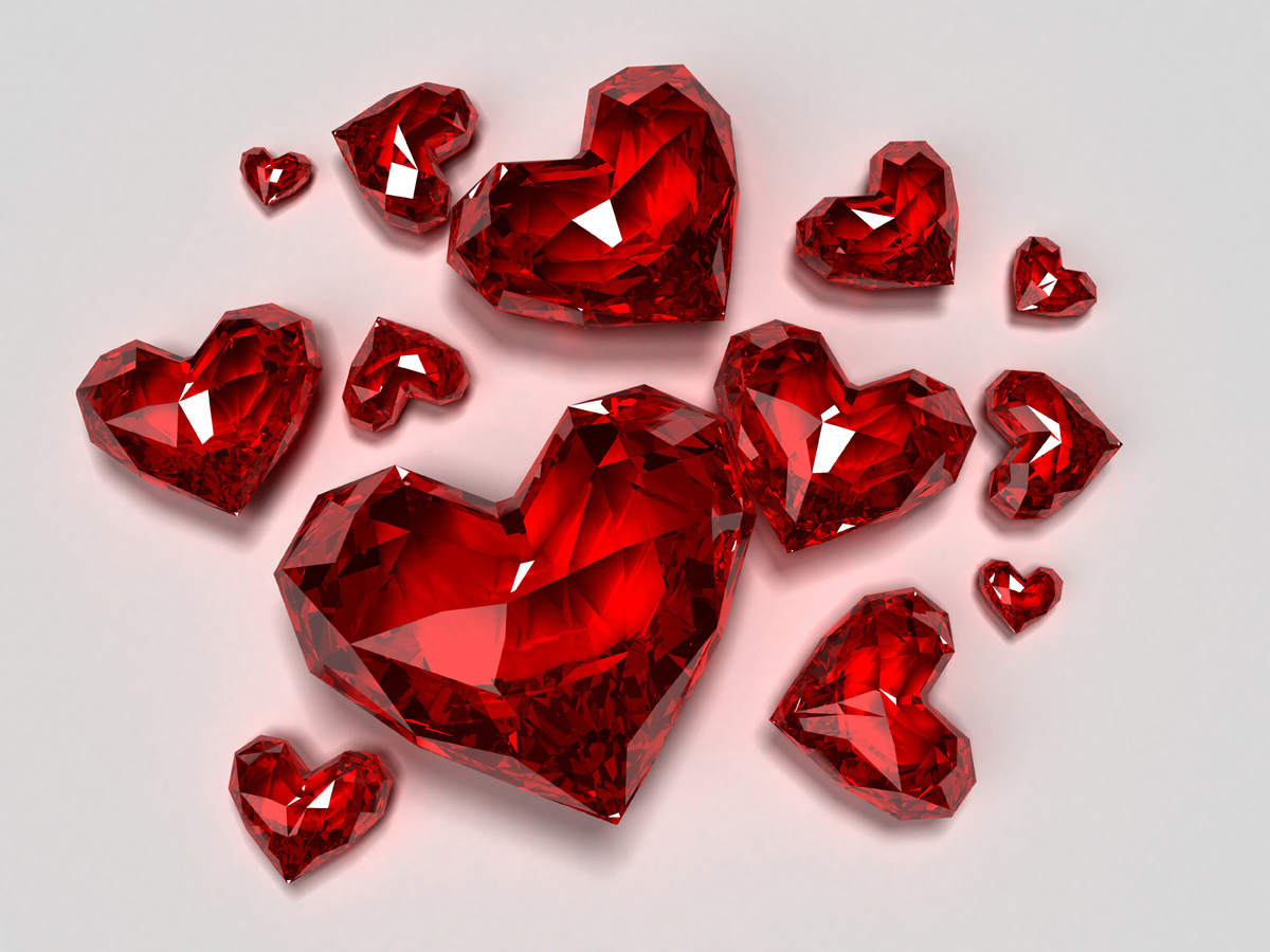 Bright red heart-shaped diamond 17840