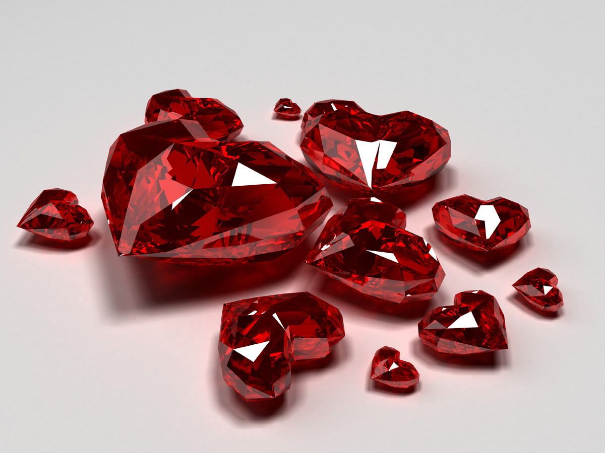 Bright red heart-shaped diamond 17892