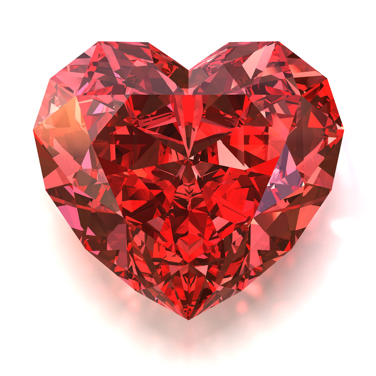 Bright red heart-shaped diamond 17944
