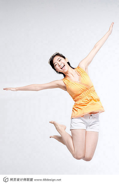 Happy people jumping material 12492