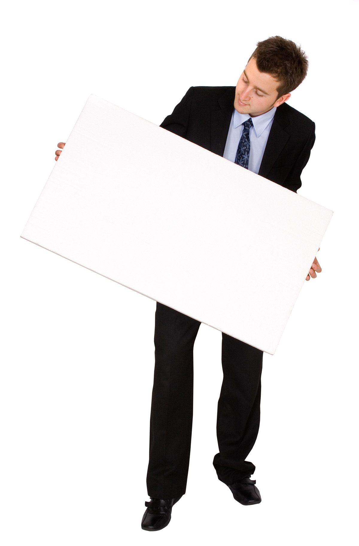 Business people holding blank cardboard 28567