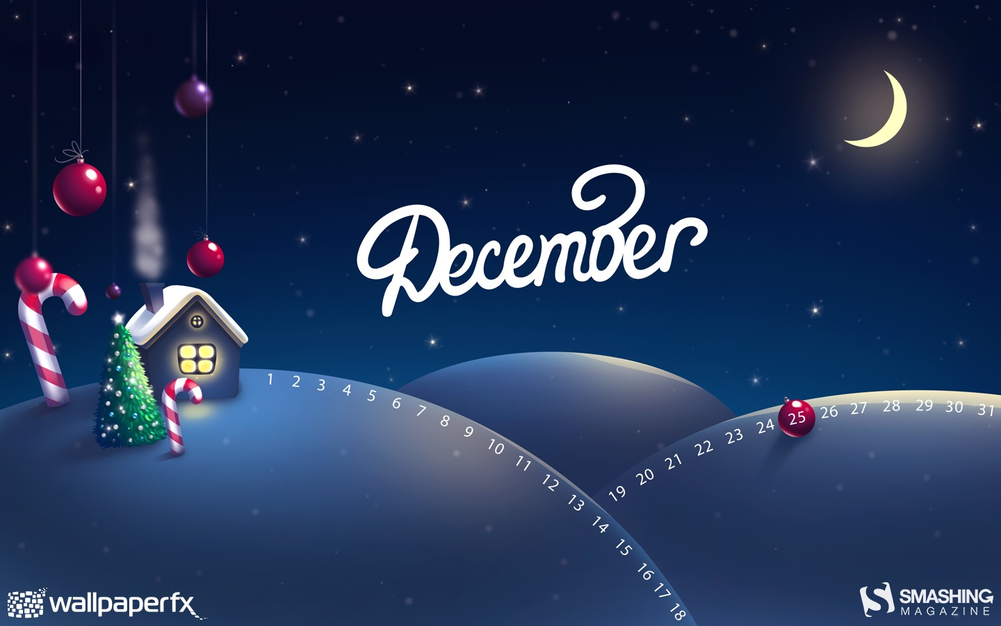 Month Calendar Wallpaper Christmas Edition 49661