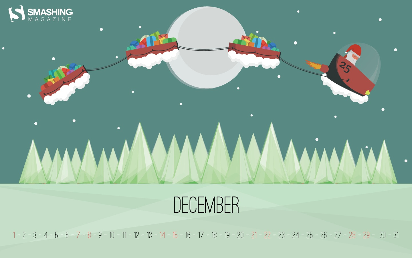 Month Calendar Wallpaper Christmas Edition 49683
