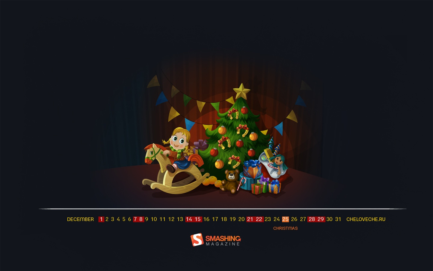 Month Calendar Wallpaper Christmas Edition 49704