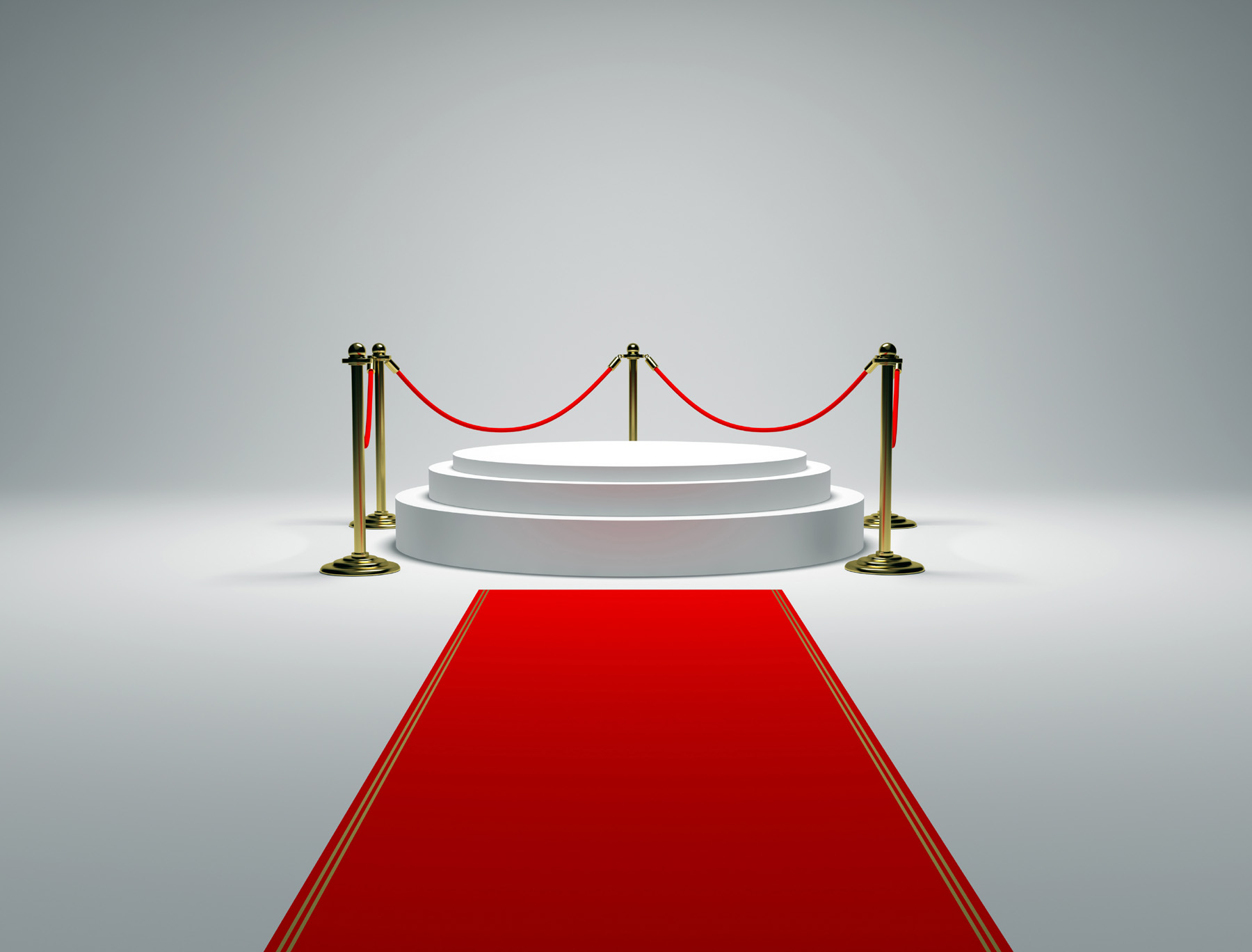 Circular booth with guardrails on the red carpet 49947