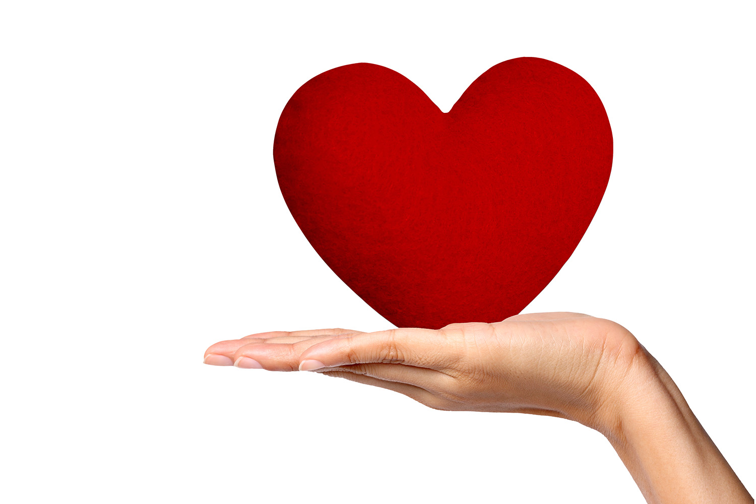 Placed on a red heart-shaped palm 49989