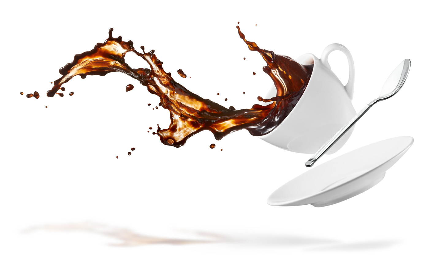 Spilled coffee mug with spoon 49997