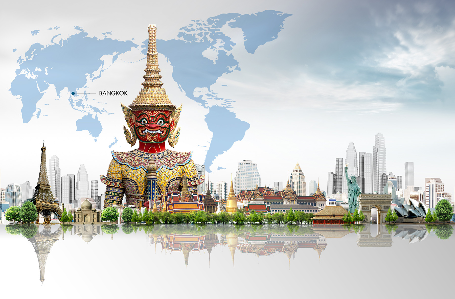 Bangkok Buddhist statues and other landmark buildings 50008