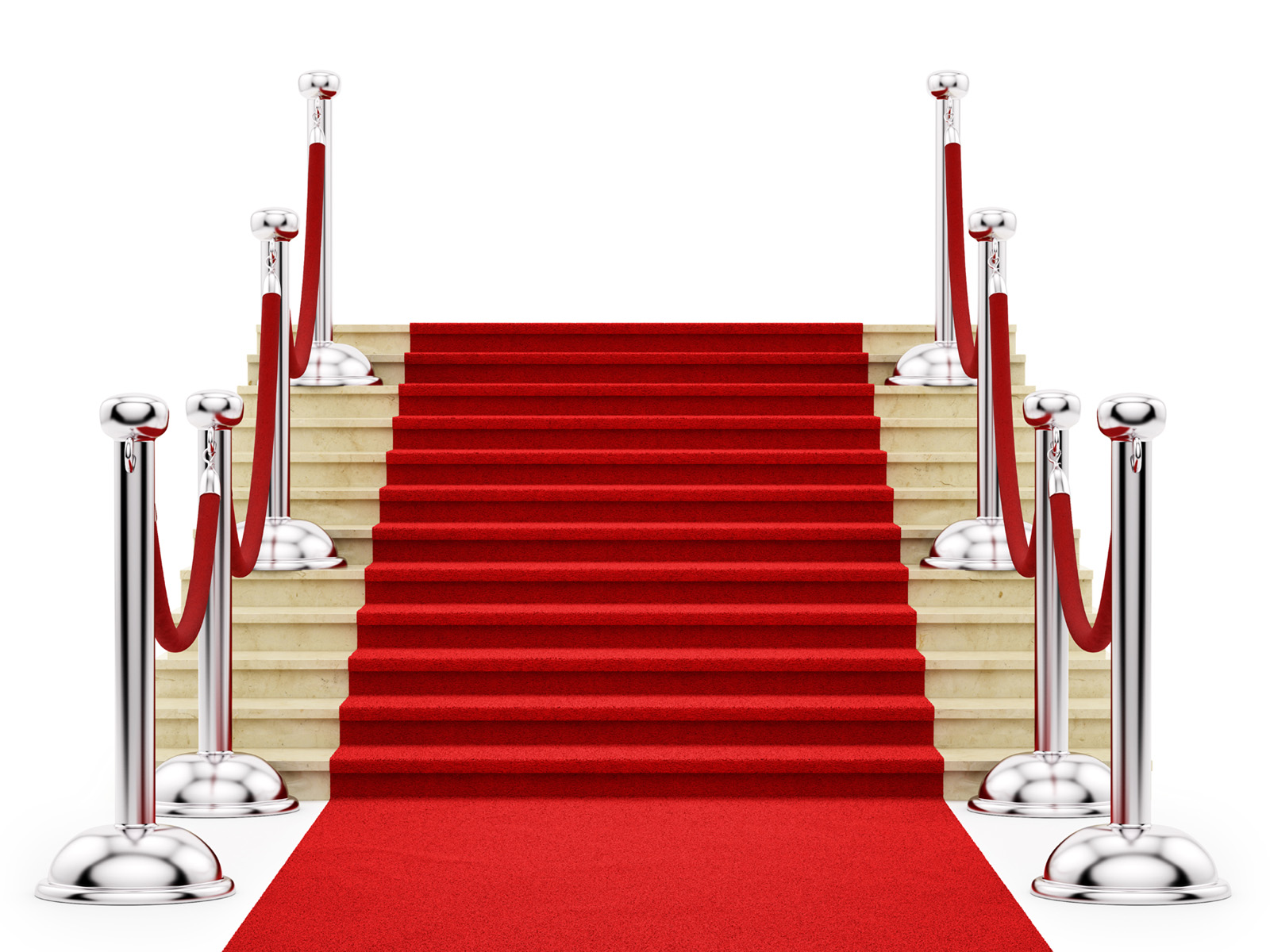 Guardrail and stairs covered with red carpet 50019