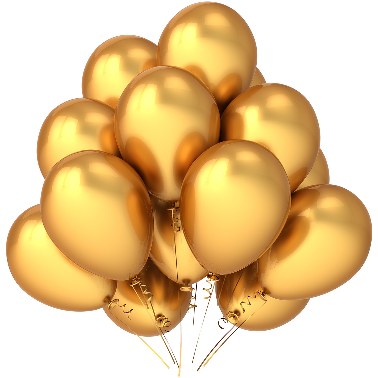 Multiple floating golden balloons 50031