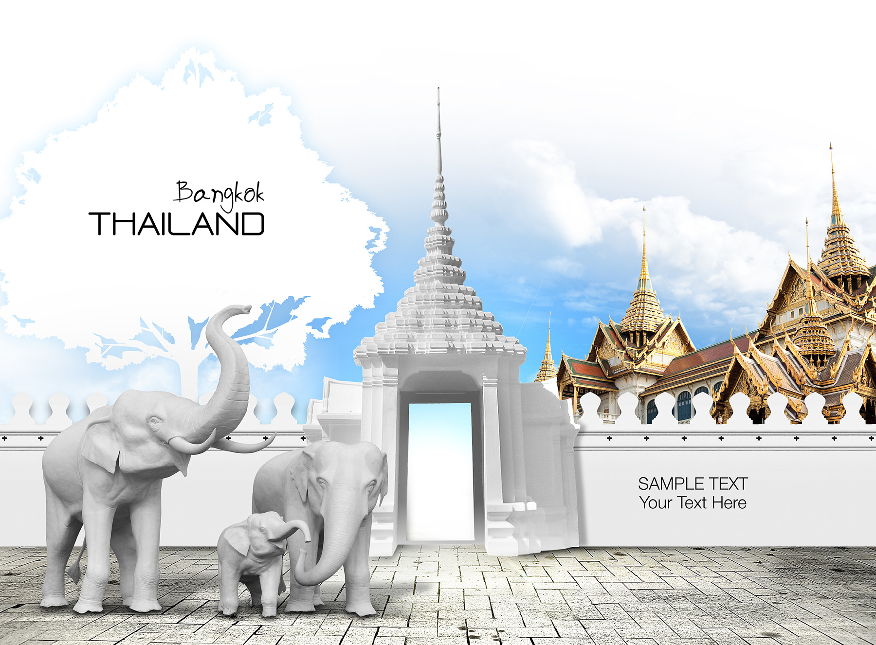 Elephant Statues And Thai Style Buildings Flower