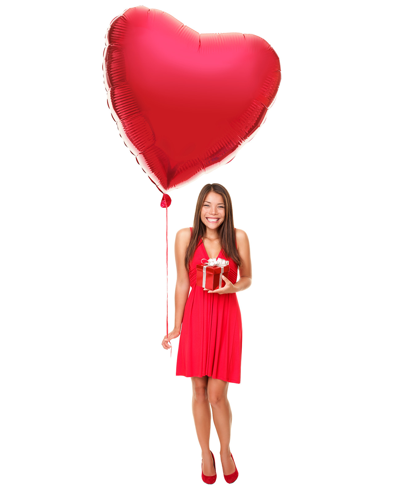 Long-haired beauty holding inflatable heart 50045