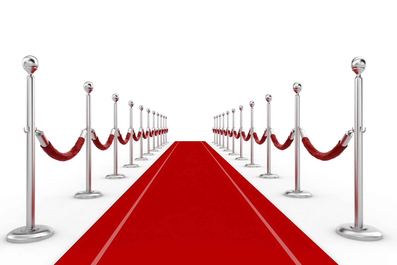 Silver white fence with red carpet 50064