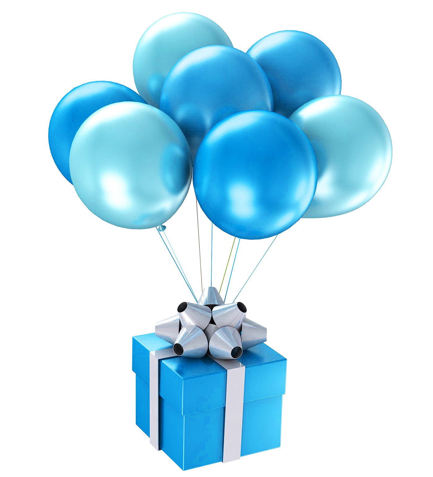 Blue gift box and balloons 50091