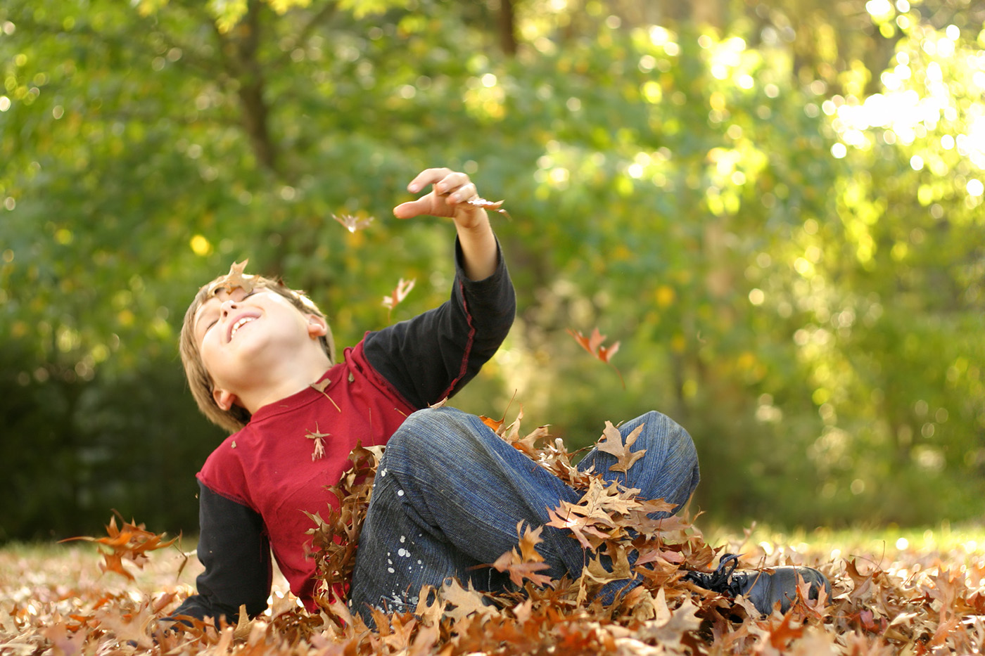 Little boy playing outdoors in autumn 50093