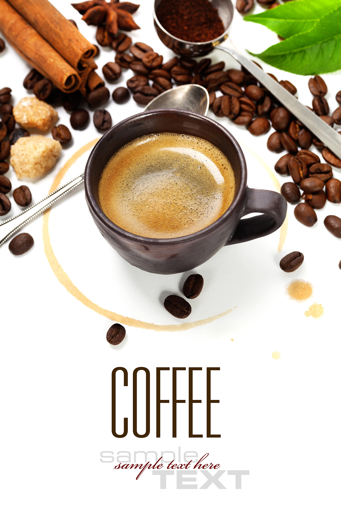 Coffee beans and coffee cup spoon 50118