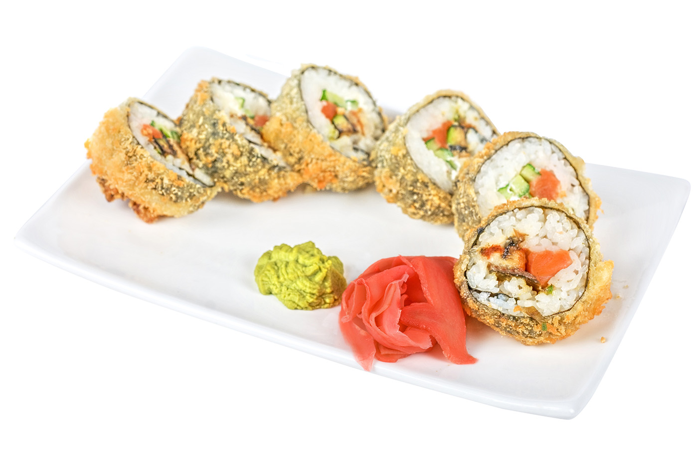 Plate of sushi with wasabi sauce 50182