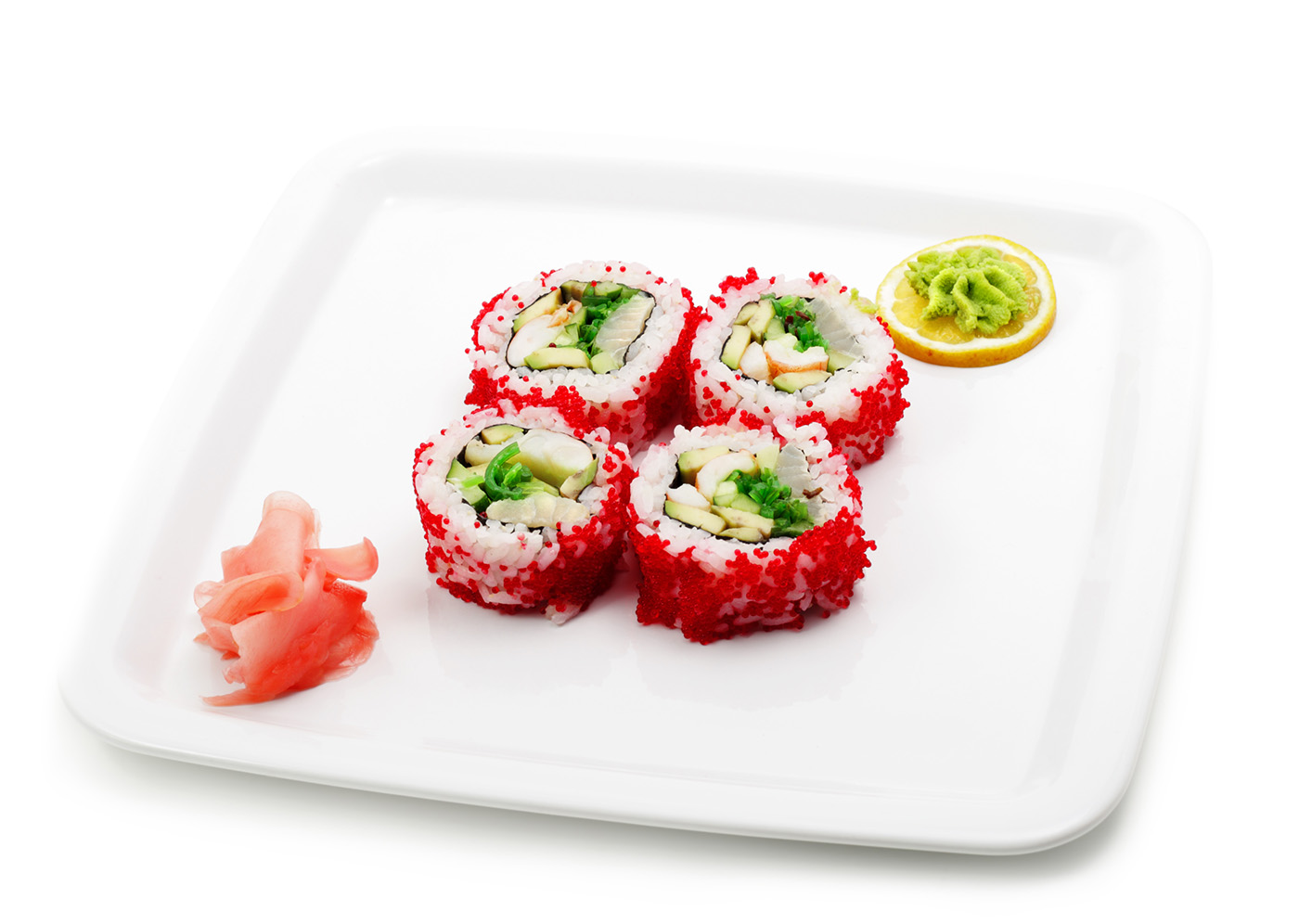 Transfer to a plate of caviar sushi 50194