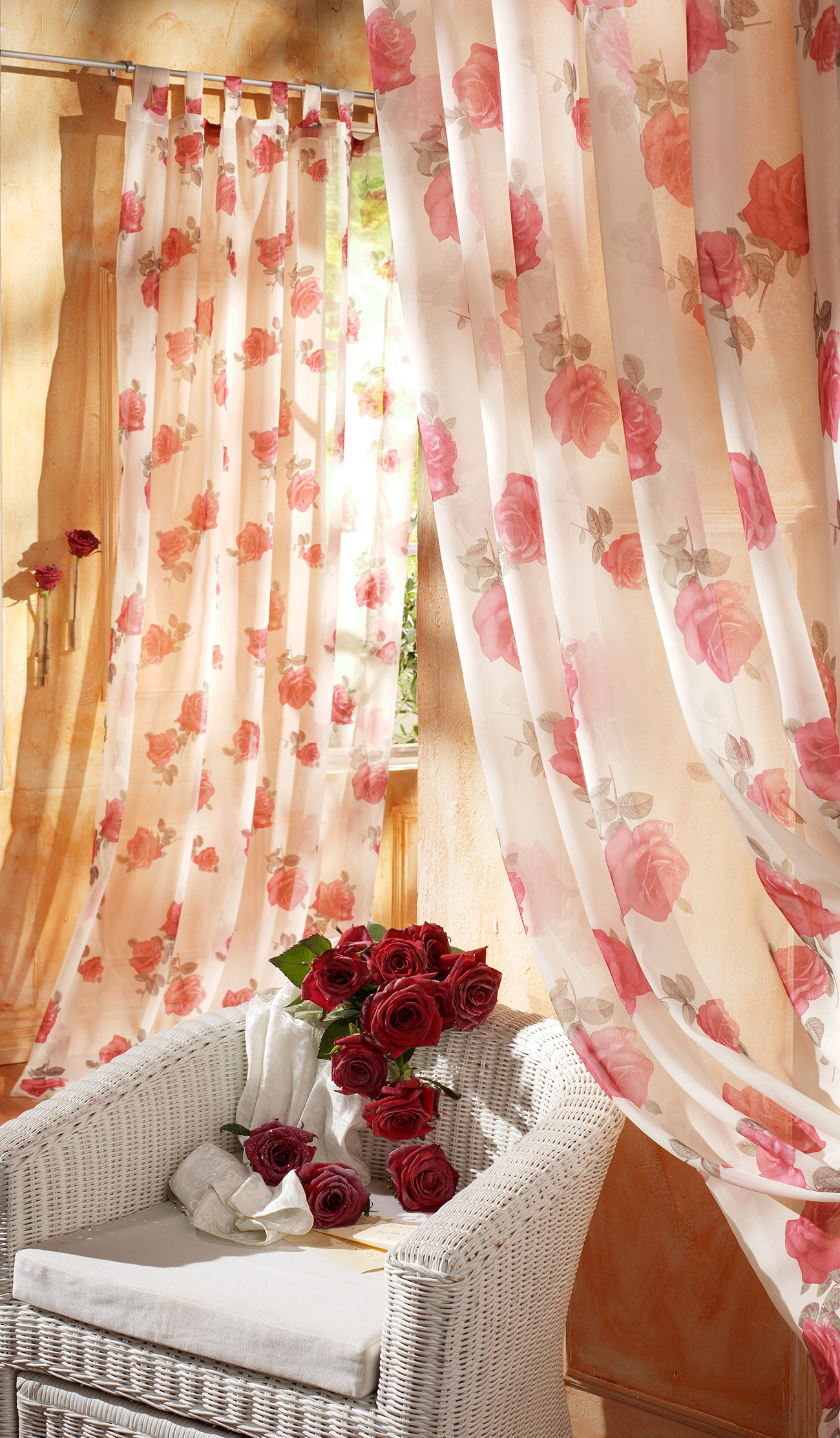 Rose floral curtains and chair 50324