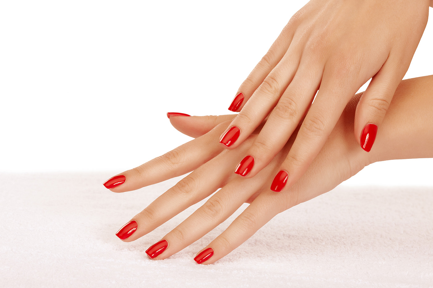 Hands painted red nail polish 50411