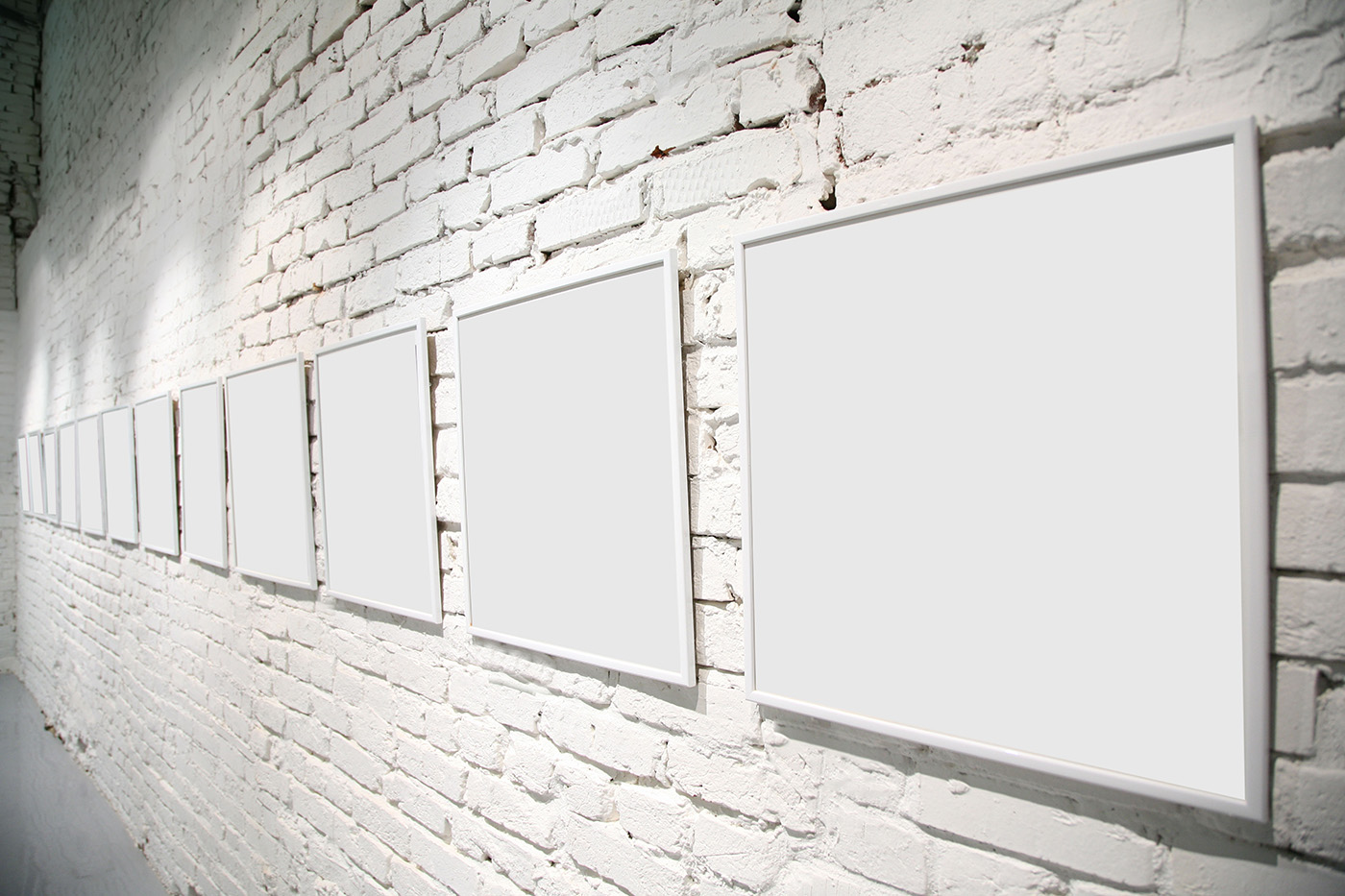 Blank picture frame hanging on the wall of lime 50428