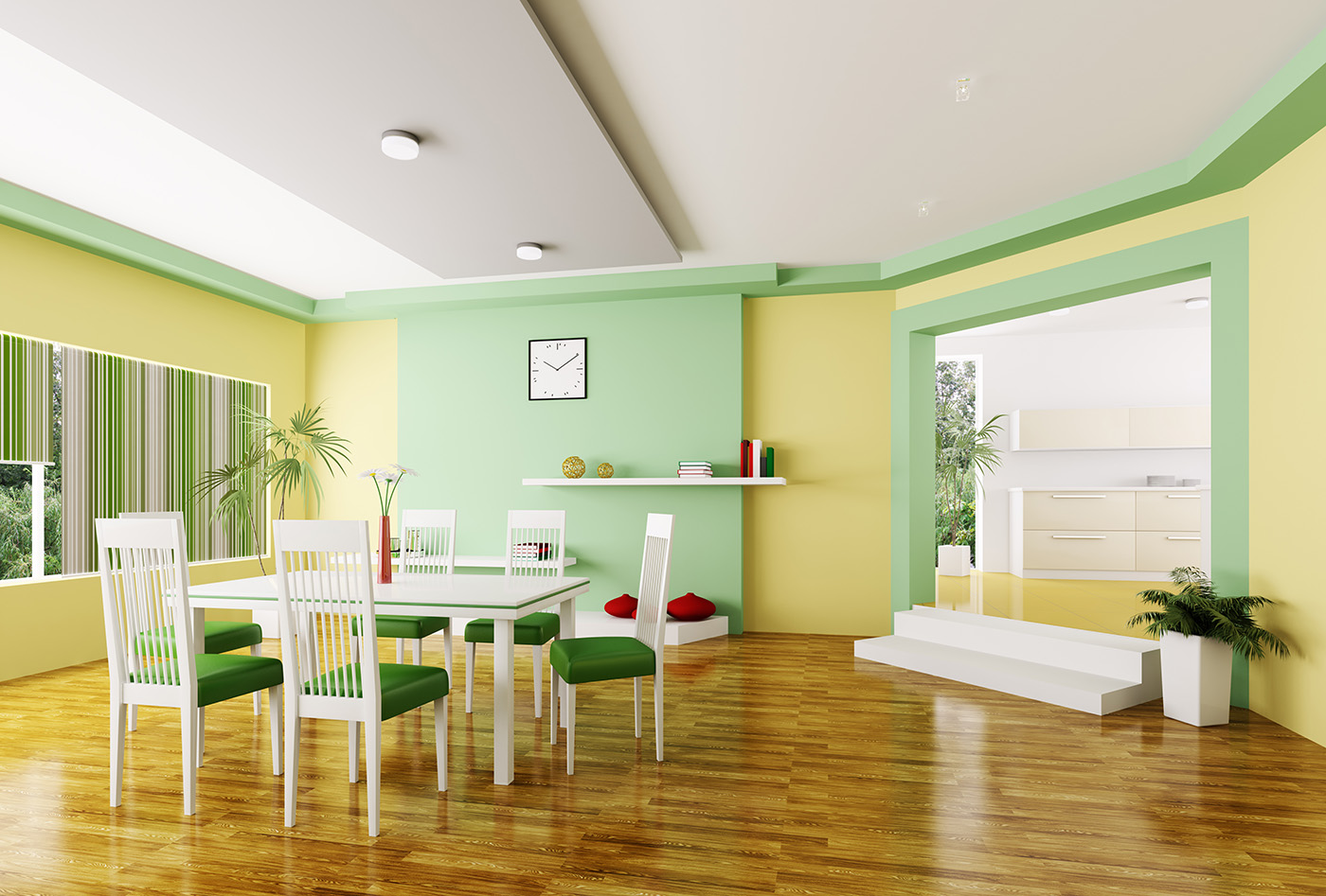 Indoor plants and chairs and shelving 50440