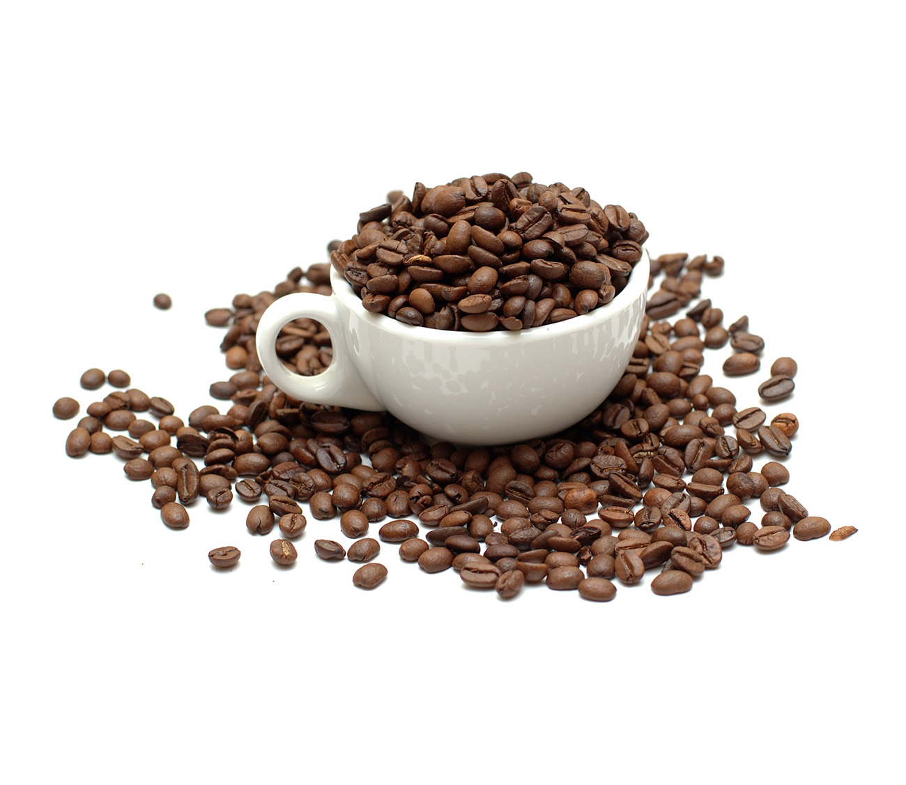 White cup with coffee beans 50482