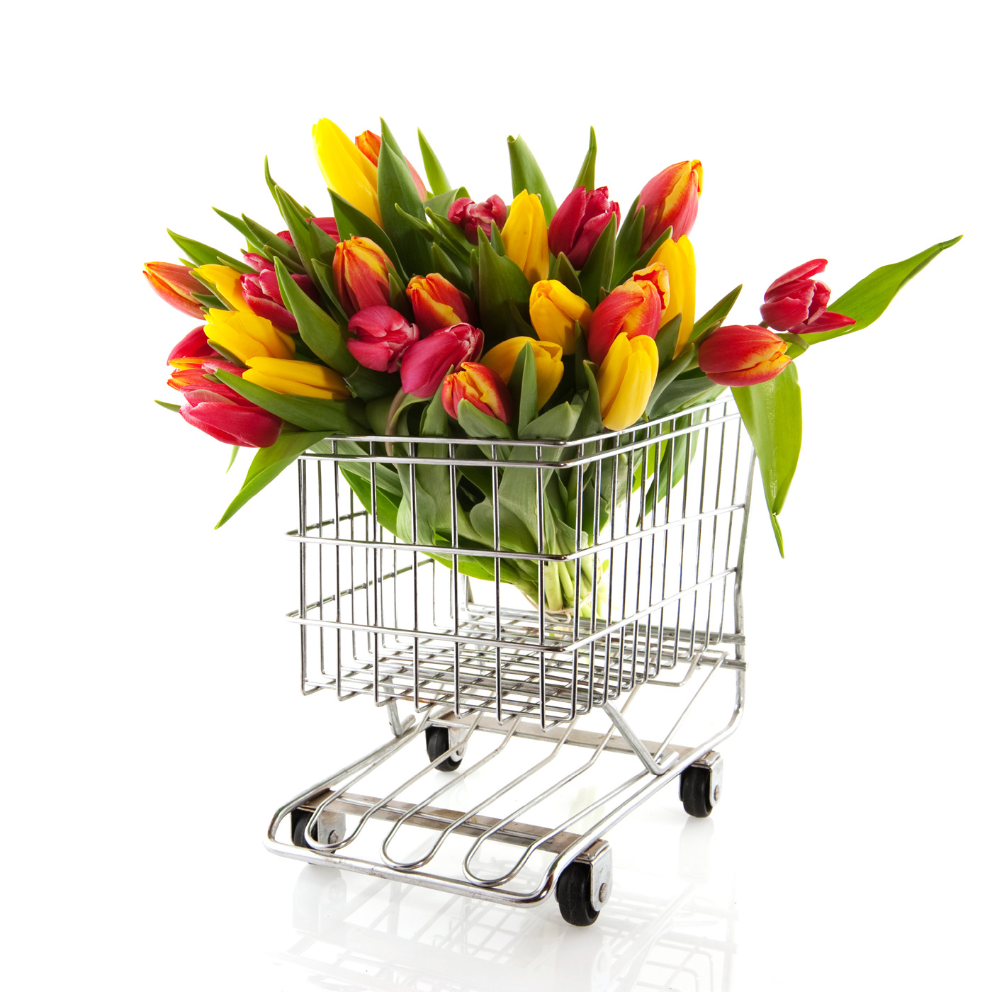 Shopping cart tulip bouquet 50494