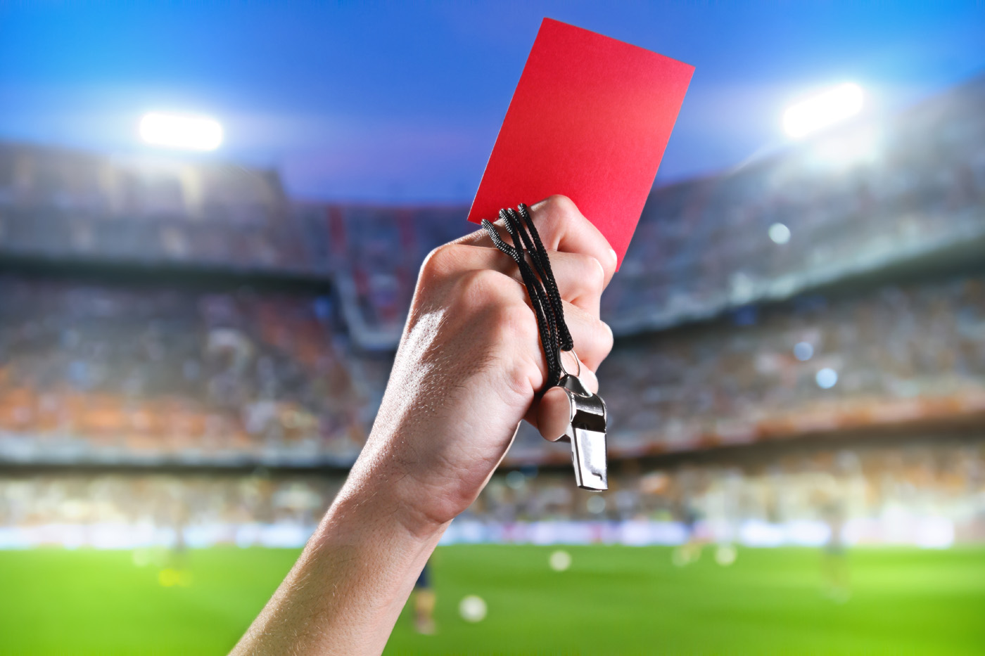 The referee in red card gesture 50896