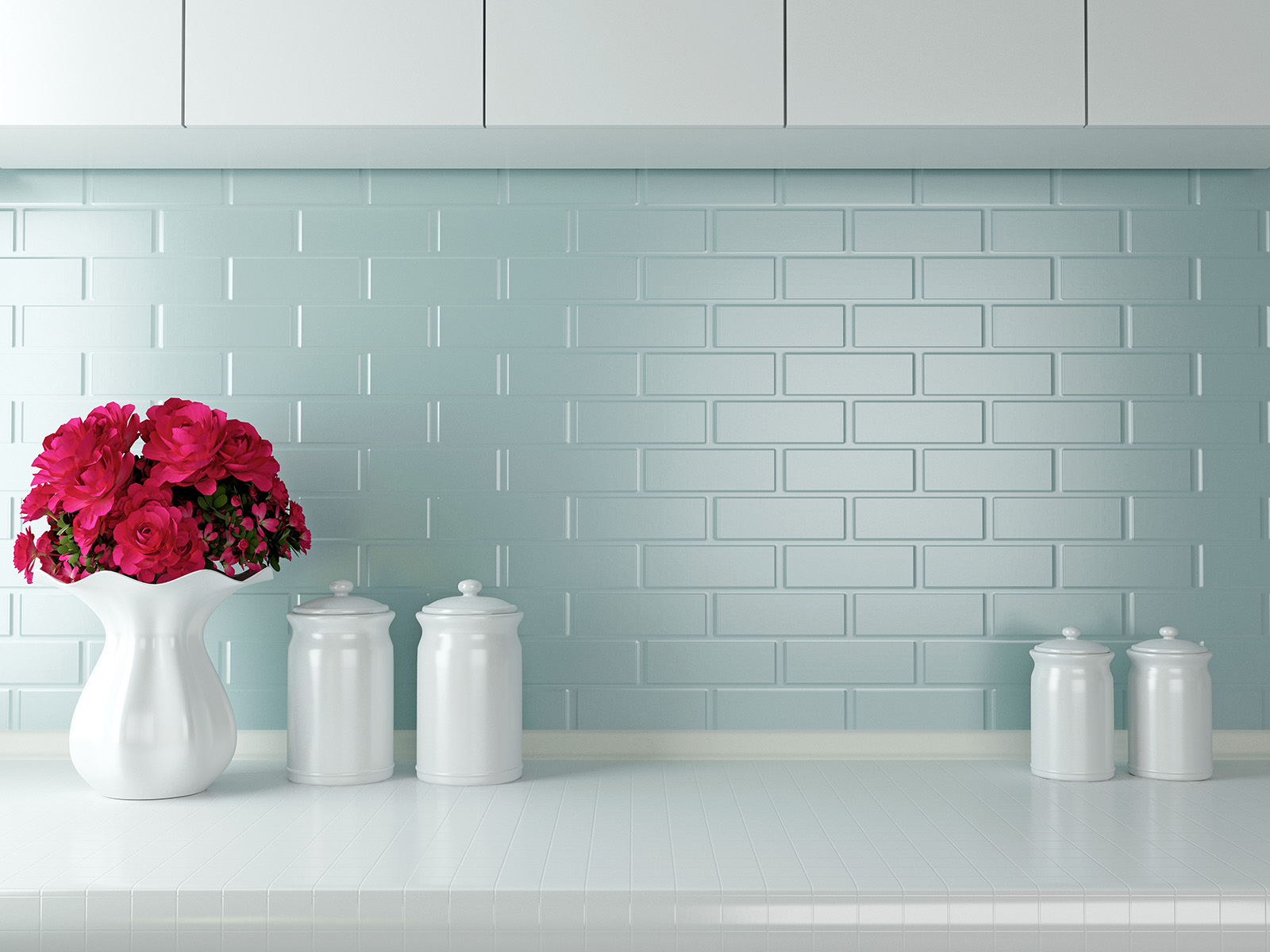 Wall decorated with vases and cups 50946