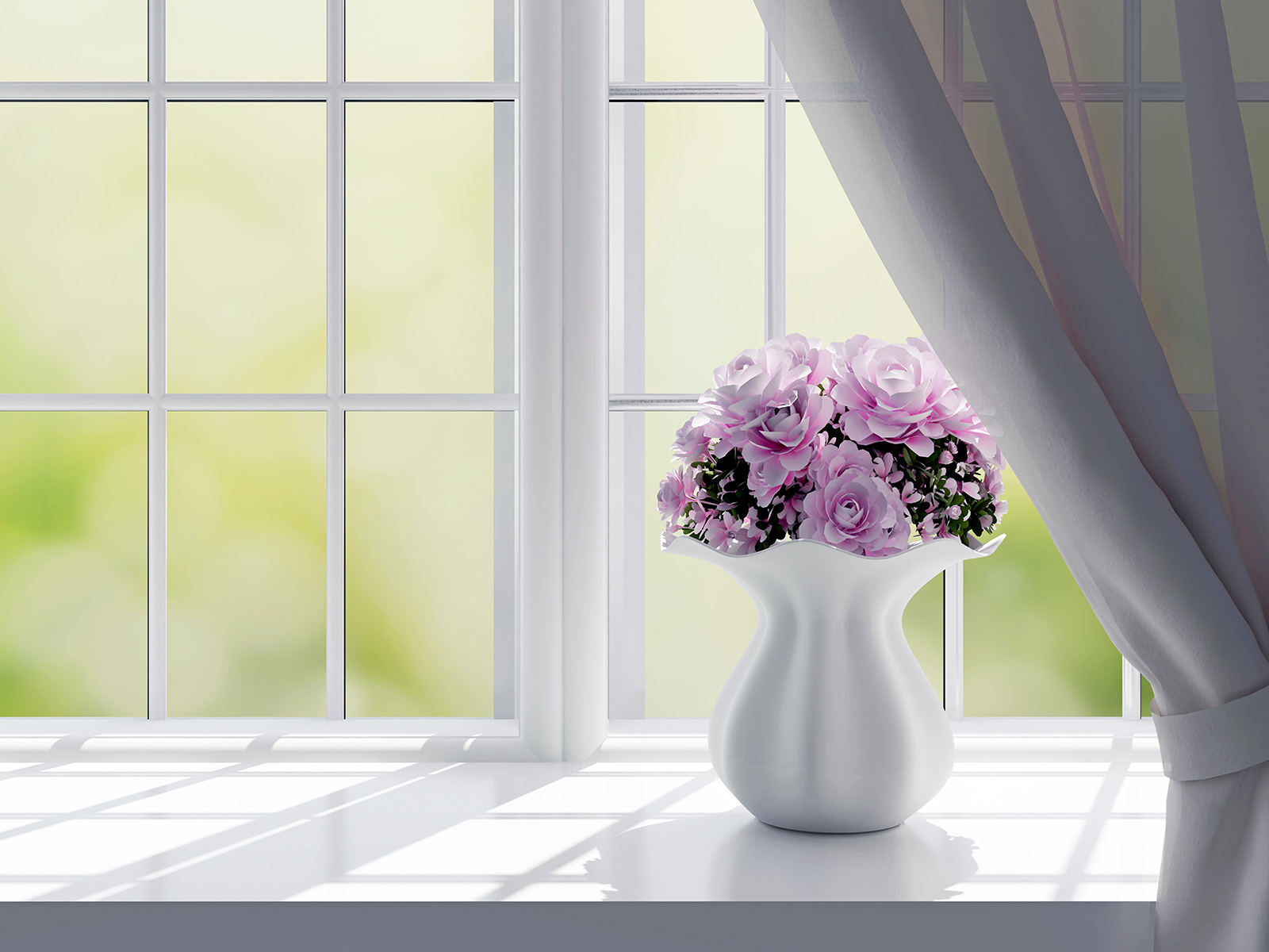 Stuck in a vase of pink flowers 50948
