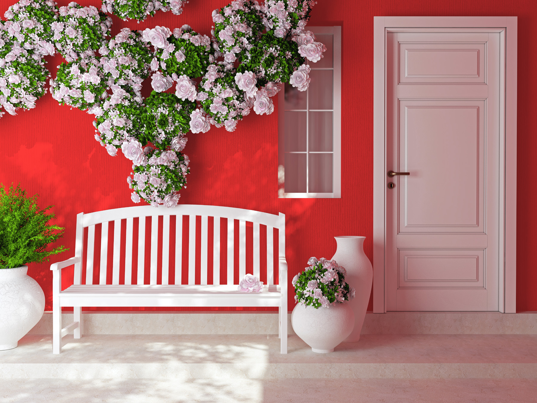 Red walls and benches and flowers outside 50950