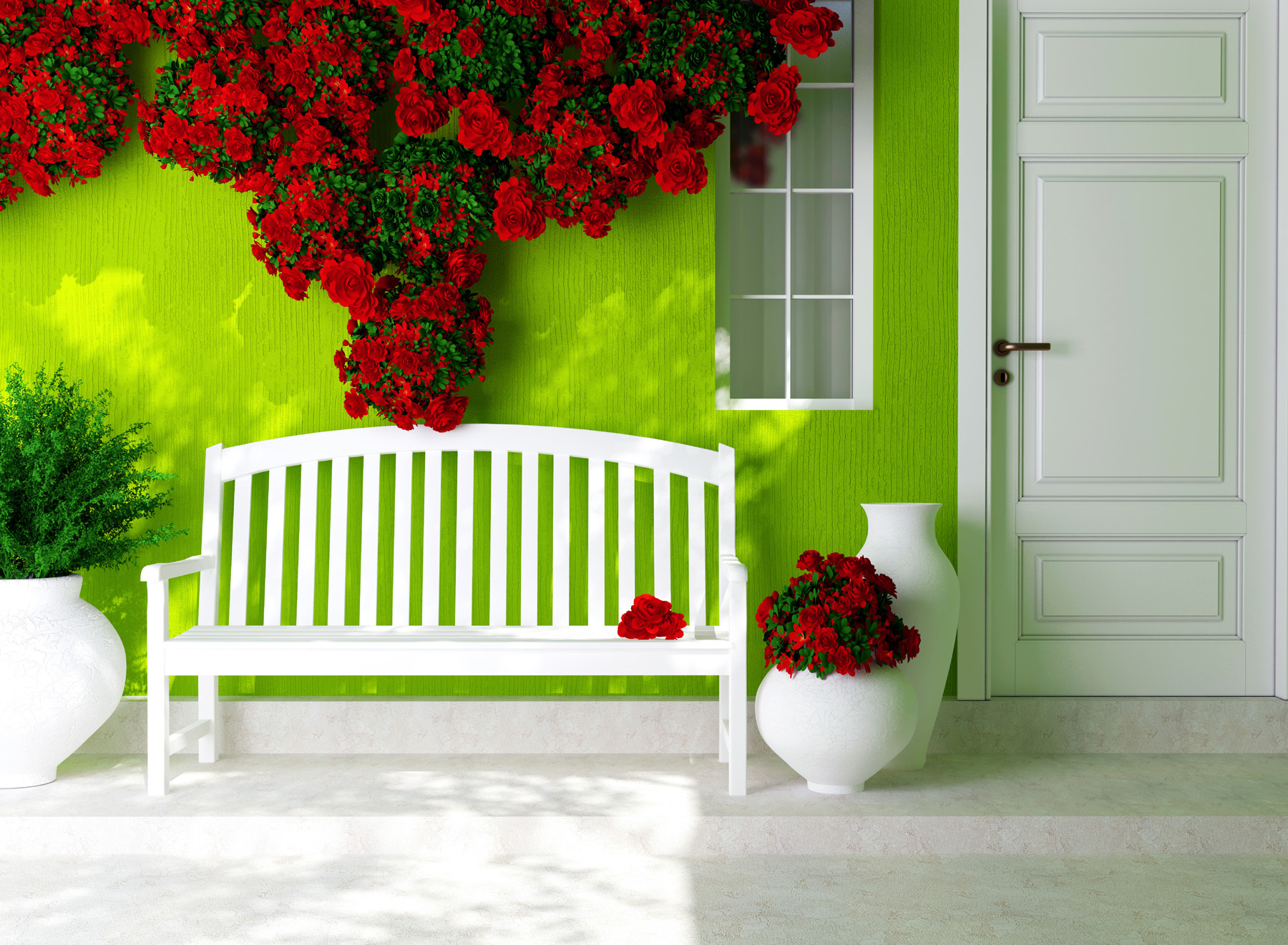 Red flowers on a bench and wall 50951