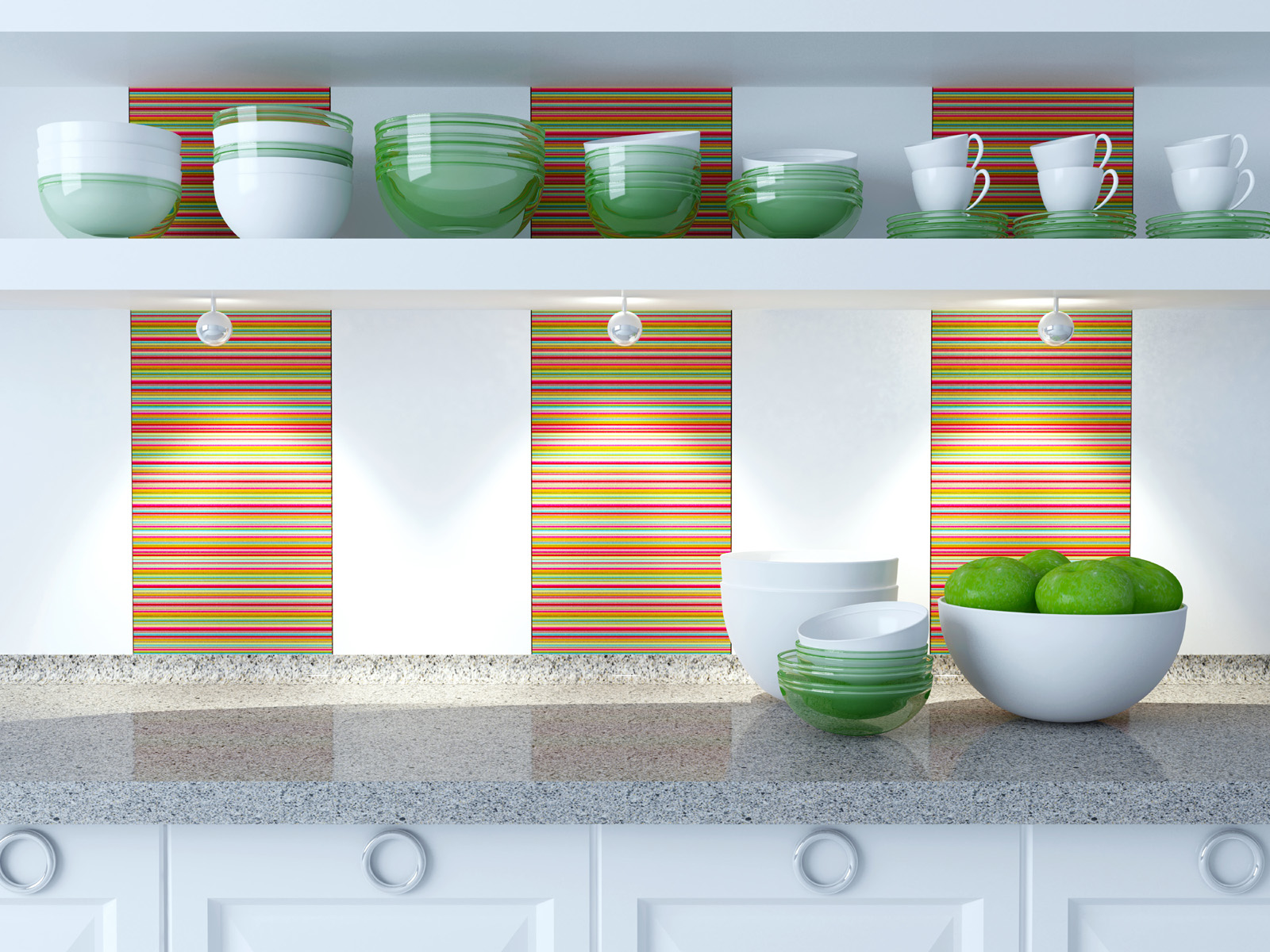 Bowls and other tableware on kitchen racks 50958