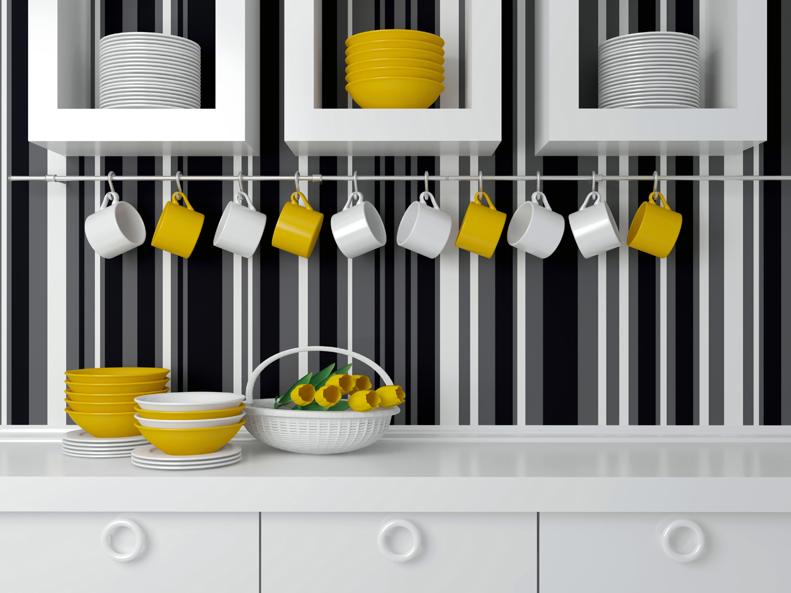 Kitchen bowls and cups hang 50959