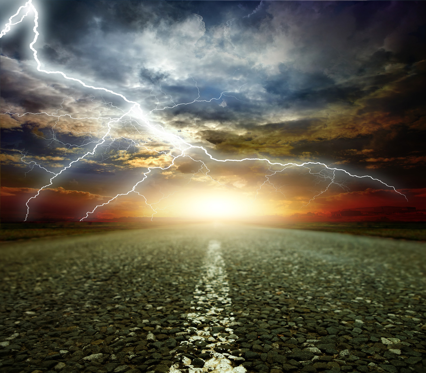 Roads and lightning in the sky 50975