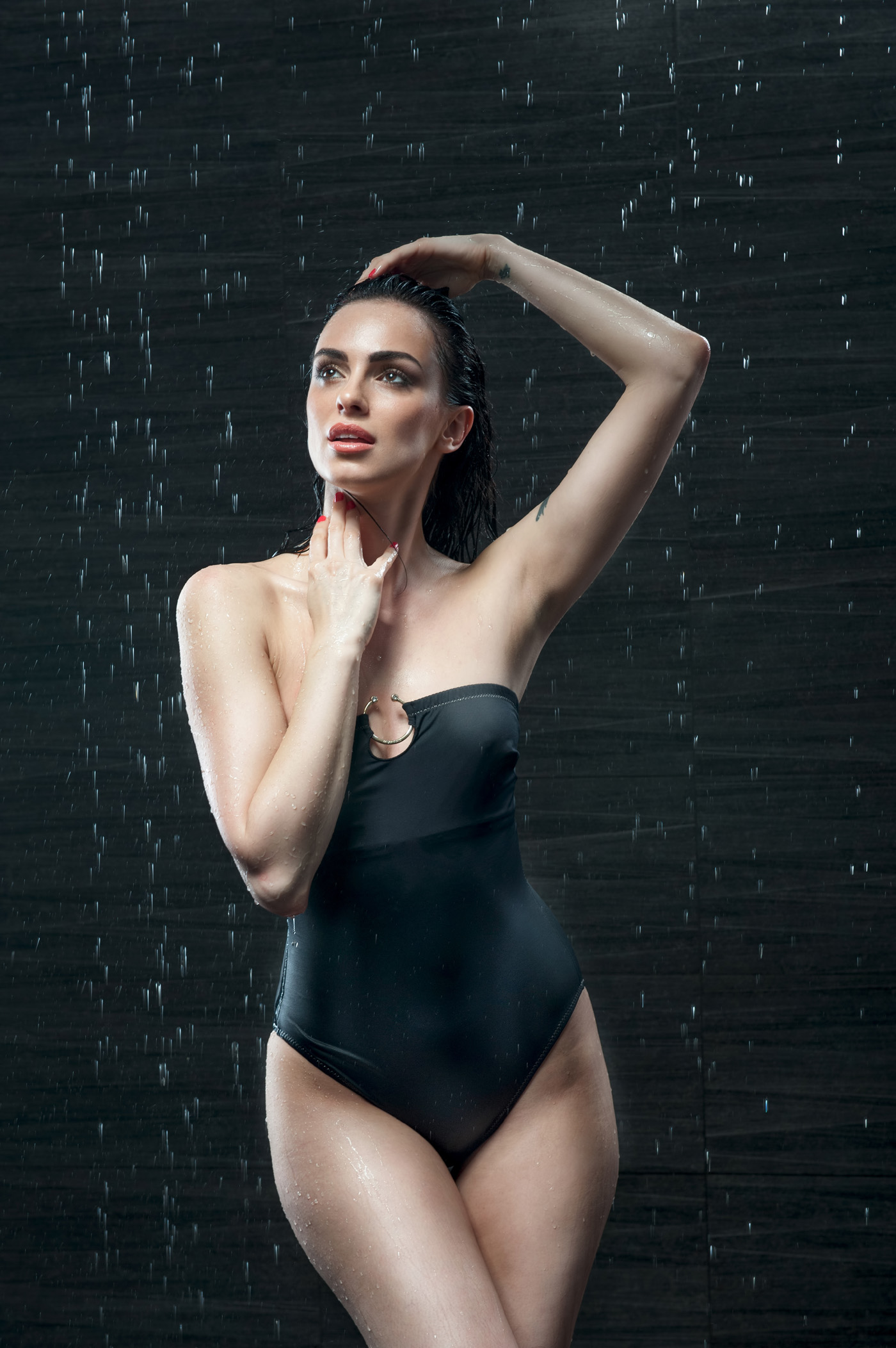Black swimsuit beauty in the rain 50985