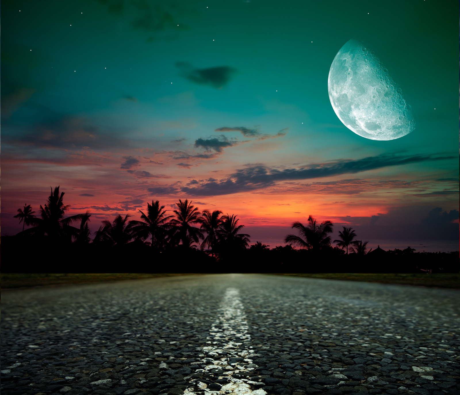 Sky Moon clouds and road 51029