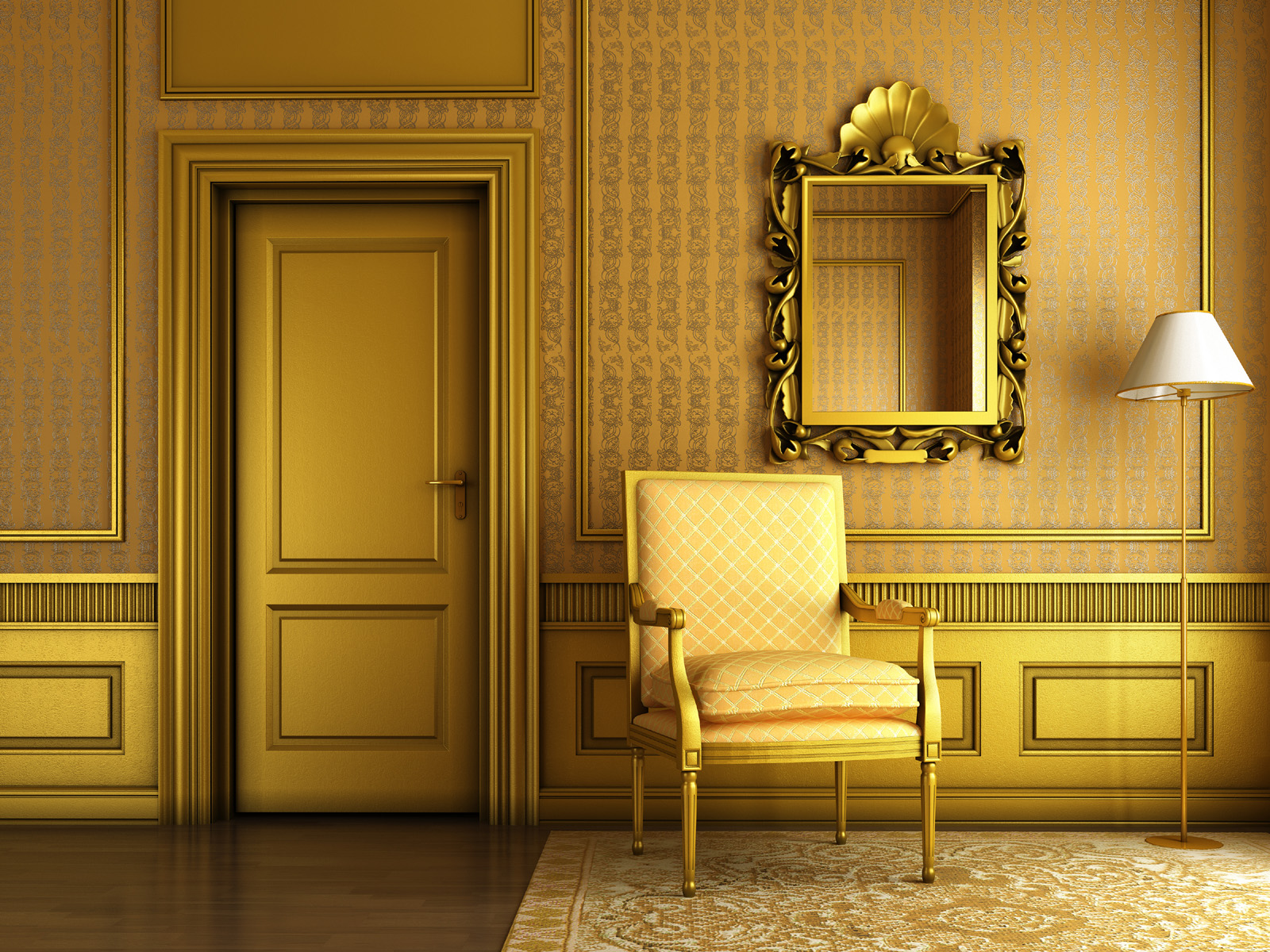 Golden door and floor lamps 51157