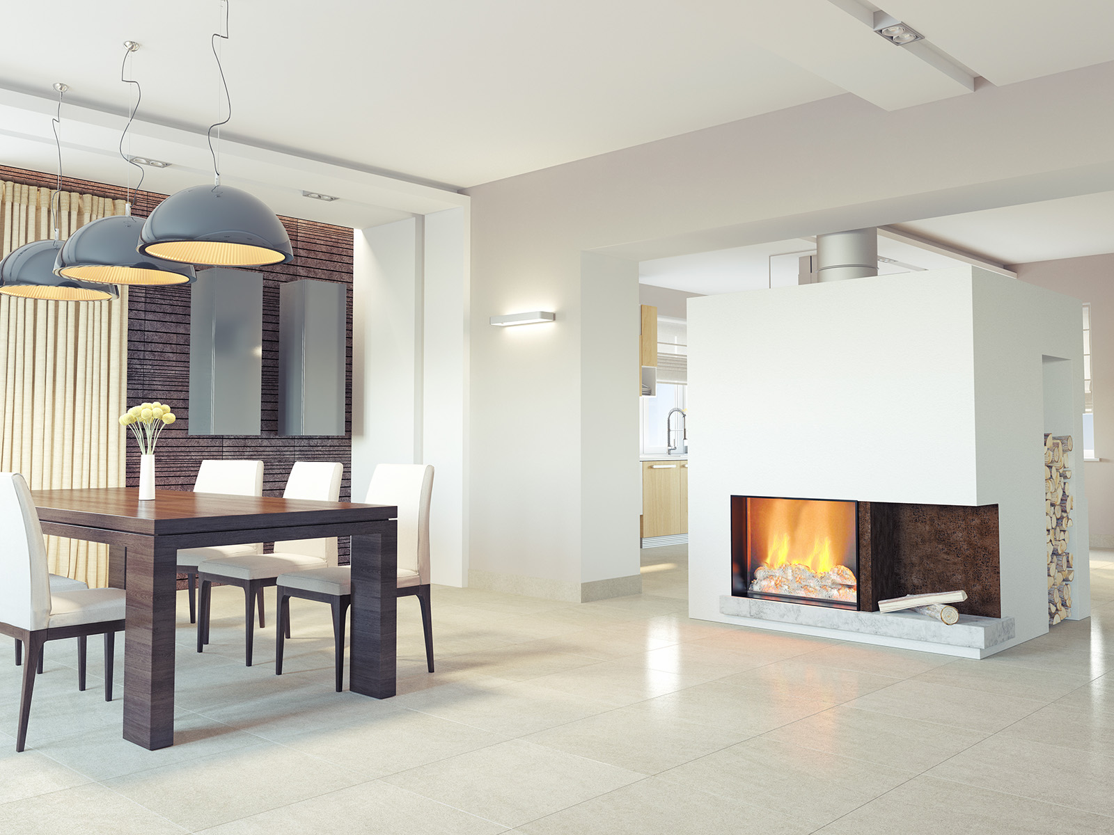 Tables and chairs in the room with fireplace 51205